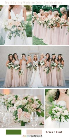 Wedding Trends Top 8 Spring Wedding Color Palettes for 2019 - Green and Blush - Planning a wedding for 2019 spring? Here we've got top 8 spring wedding color palettes for your options. Please scroll down to the end and enjoy! Green Spring Wedding, Summer Wedding Colors, Spring Wedding Dresses, August Wedding Colors, Fall Wedding, Romantic Wedding Colors, Neutral Wedding Colors, Spring Weddings, Spring Green