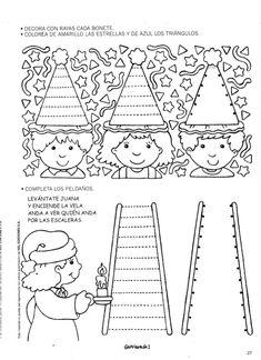 grafi1 Kindergarten Games, Preschool Writing, Preschool Learning Activities, Preschool Printables, Prewriting Skills, Diy Crafts For Kids Easy, Math Patterns, Kids Math Worksheets, Grande Section