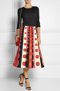 Valentino|Patterned wool and silk-blend midi skirt