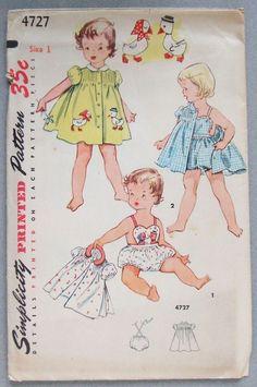 Vtg Simplicity 1950s sewing pattern 4727 Toddler Romper Sunsuit  Dress s 1 Uncut