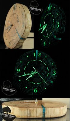 Wooden clock from slice of wood - glow in the dark resin   Beautiful wall clock   #home #decor #clock #glowing #resin #wood
