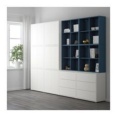 IKEA SVALNAS Bamboo, White Wall-mounted workspace combination EKET Storage combination with feet, white/orange, light orange white/orange/light orange Ikea Svalnas, Ikea Malm, White Storage Cabinets, Casa Loft, Ikea Inspiration, Ikea Home, Living Room Storage, Playroom Storage, Ikea Furniture