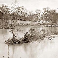 Petersburg, Virginia. Ruins of railroad bridge. It was made in 1865