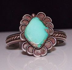 Vintage Navajo Indian Sterling Silver & Turquoise Fancy Cuff Bracelet, GORGEOUS!
