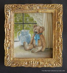 """""""Teddy in Window"""" - An Original Oil Painting by Cindy Lotter"""