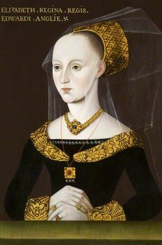 Elizabeth Woodville Queen of Edward IV, mother of Elizabeth of York, and maternal grandmother of Henry VII close to end of war of the roses, mother of the 2 princes in the tower