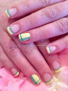 Gel polish with gel stripe nail art. I hate the color choice but the design is cool.