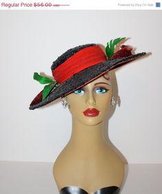 20% Off SALE 1930s VICTORIAN Tilt Hat / Vintage Black Wide Brim Hat /  Feathers Plumes