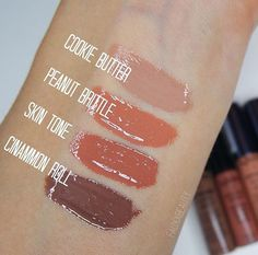 NYX xtreme lip cream in skin tone, intense butter gloss in cinnamon roll, peanut brittle