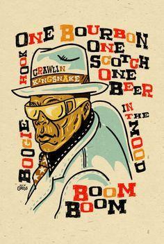 John Lee Hooker Poster signed by Grego  digital  by MojohandBlues