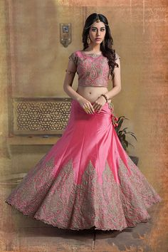 Picture of A line pink color lehenga choli in art-silk material