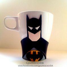 Polymer clay Batman mug and spoon: handmade Batman gift. Collect all of the Marvel mugs. Ordering info: gyurmacsodak@gmail.com Credit: @csontosadri   https://www.facebook.com/gyurmacsodak/