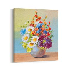 Framed AUTUMN FLOWERS in Vase Giclee Canvas Wall Art Painting Prints Home Decor #CanvasBees #ArtDeco