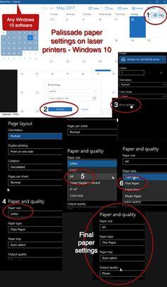 Palissade paper settings on laser printers - Windows 10