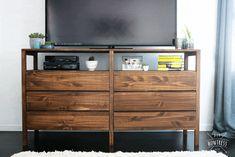 Ikea Hack - Two Ivar 3 Drawer Dressers Made Into Custom Entertainment Dresser Pine Furniture, Living Room Furniture, Furniture Design, Furniture Ideas, Furniture Websites, Inexpensive Furniture, Luxury Furniture, Ivar Regal, Ivar Hack