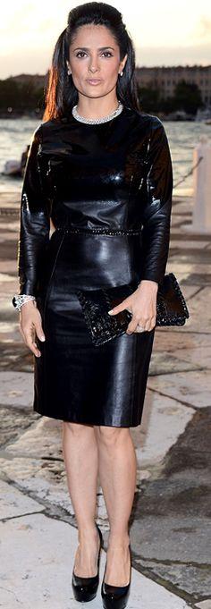 Salma Hayek: Dress – Bottega Veneta  Jewelry – Boucheron  Shoes – Saint Laurent