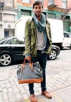 グリーンM65ジャケットのカジュアルな着こなし(メンズ) | Italy Web