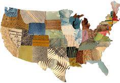 US map contiguous United States map cut paper by susanfarrington, $15.00