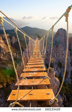 Suspension bridge in mountain