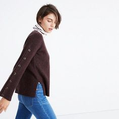 fc746ef46a360a Button-Sleeve Pullover Sweater
