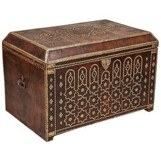 Spanish Studded Leather Trunk |  HEIGHT:27.25 in. (69 cm) WIDTH:40.25 in. (102 cm) DEPTH:27.25 in. (69 cm) DEALER LOCATION:London, United Kingdom NUMBER OF ITEMS:1 REFERENCE NUMBER:From a unique collection of antique and modern trunks and luggage at https://www.1stdibs.com/furniture/more-furniture-collectibles/trunks-luggage/