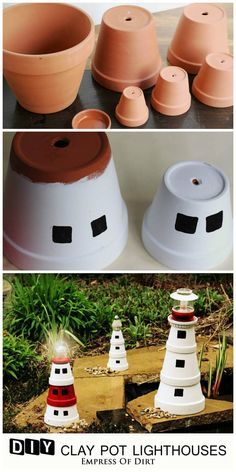 DIY-Clay-Pot-Lighthouse- This garden art lighthouse is a fun project to do with kids. Pick a favourite lighthouse and recreate it with clay pots and some paint. Add a working solar lamp to make it magical at night. Flower Pot Art, Clay Flower Pots, Flower Pot Crafts, Clay Pots, Clay Pot Projects, Clay Pot Crafts, Diy Clay, Craft Projects, Diy Crafts