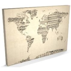 old sheet music world map