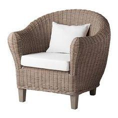 IKEA - HARADS, Lepotuoli+tyyny, harmaa, , Luonnonkuiduista valmistettu kaluste on todella kevyt mutta silti vankka ja kestävä.