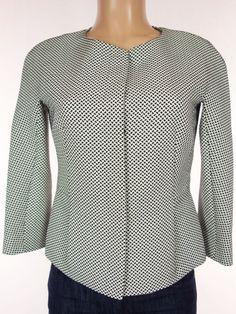 MAX MARA Jacket Size 8 M Medium Black White Check Tailored Career Blazer #MaxMara #Blazer