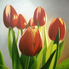 Tulipanes Rojos-Oleo sobre lienzo - 1,10 x 1,10 mts.