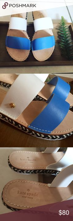 ⚡️Flash Sale⚡️Kate Spade Sandals Brand new blue & white leather sandals with rope bottom detail and signature spade emblem. Display model so sizing tag mark on one heel bottom. Can ship with box but would prefer not to for ease of size. Don't forget to shop my closet for a bundle discount! kate spade Shoes Sandals