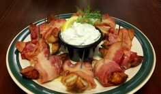 Bacon-Wrapped Potato Wedges with Creamy Dill Dip