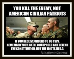 If you're in the military or law enforcement, remember, you swore an oath to defend the American constitution. You did not swear an oath to promote world government. ~ RADICAL Rational American's Defending Individual Choice And Liberty Military Quotes, Military Humor, Military Life, Army Life, Way Of Life, The Life, Thats The Way, Usmc, Constitution
