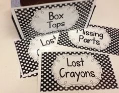 Polka Dot labels for organizing classroom supplies and work