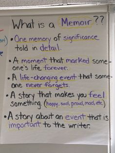 What is a memoir? Anchor chart, writers workshop, ELA, narrative writing, memoirs, 5th grade