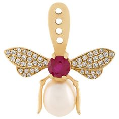Yvonne Léon diamond bee lobe earring ❤ liked on Polyvore featuring jewelry, earrings, diamond earrings, earring jewelry, bumble bee earrings, bumble bee jewelry and diamond jewelry