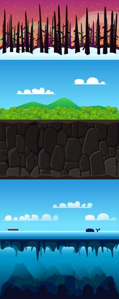 Game Backgrounds #1 by Hamdi Rizal, via Behance Side Scrolling Game Backgrounds.  Included 10 backgrounds for your next project. Hills, desert, ocean, forest, snow, catacomb, cave, underwater, city, and ruins.  http://goo.gl/p1qdrR