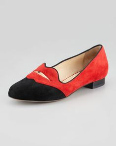 Holy mother of $695 shoes: Charlotte Olympia Bisoux Suede Lip-Detail Smoking Slipper - Neiman Marcus