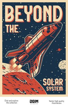 Buy Vintage Space Colorful Poster by imogi on GraphicRiver. Vintage space colorful poster with flying shuttle on cosmic background vector illustration Room Posters, Poster Wall, Poster Prints, Space Posters, Gig Poster, Design Posters, Vintage Space, Vintage Ski, Vintage Travel