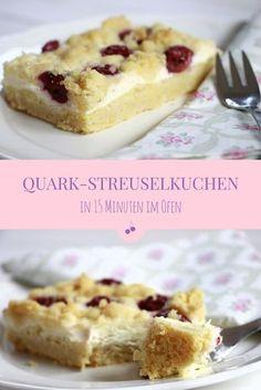 Streuselkuchen: Schnell und lecker. Der Blech Streuselkuchen mit Quark kann mit verschiedenem Obst belegt werden. Besonders lecker ist Kirschstreuselkuchen. Der Streuselkuchen vom Blech kann auch als Streuselkuchen Rezept für eine Springform verwendet werden.