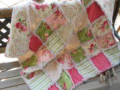 Shabby Chic baby girl rag quilt