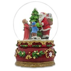 "6"" Santa Claus Giving Kids Christmas Gifts around Tree Musical Box Snow Globe"