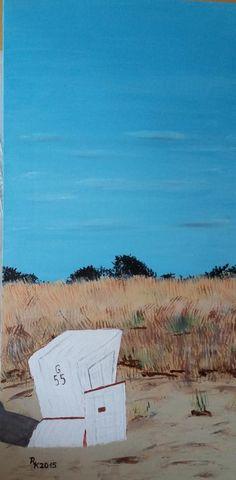 2015 - Strandkorb Version 1 Öl auf Leinwand 70 x 30 cm #Ostsee #Summerfeeling #Ölgemälde #KunstaufLeinwand #Kirsche-Art Art On Canvas, Beach Tops, Cherry, Lighthouse, Baltic Sea