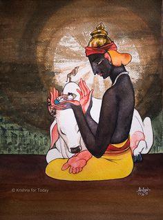 Dialogue with Arjuna. #watercolour #krishnafortoday