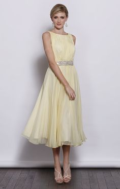 Sleeveless round neck chiffon tea length bridesmaid dress