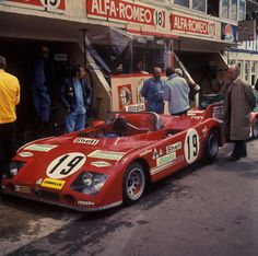 The alfa romeo 33tt3 of R.Stommelen \ N.Galli, not reached the end (a stone in a cylinder) Le Mans 1972.