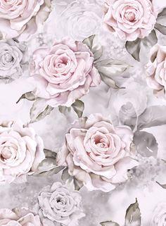 Detail of rose wallpaper design by Ellie Cashman. Neutral color palette. Floral wallpaper. Floral patterns. Floral watercolor patterns. www.elliecashmandesign.com; www.thewonderinus.com