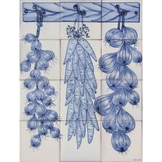Portuguese-Painted-Clay-Azulejo-Tiles-Panel-Mural-CORREIO-MOR-KITCHEN-VEGETABLES