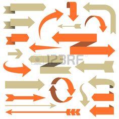 矢印セット - は、さまざまなスタイルで矢印デザインのセット。 各要素は、簡単に編集できるグループ化されます。 色は、世界的な見本です。. 写真素材 - 47684636