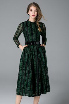 $75.99 Green Buttoned Belted Lace Dress